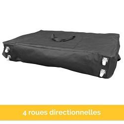 Housse de transport noire à roulettes pour table de massage - Norme CE