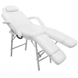 Fauteuil cosmétique de massage aluminium idéal esthétique ou pédicure 2 jambes séparées pliante pliable blanc crème